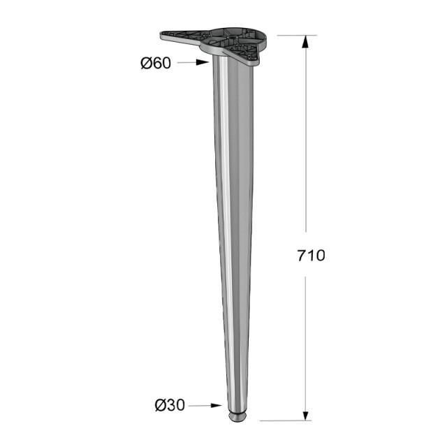 CRB LEG CONIC H.710 CHROME